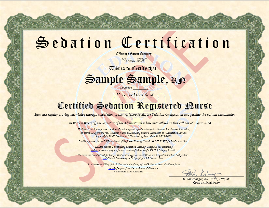 Certificate in Moderate Sedation